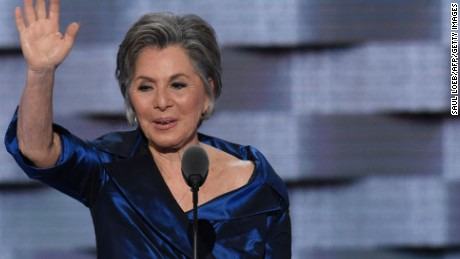 US Senator Barbara Boxer at the 2016 Democratic Convention.