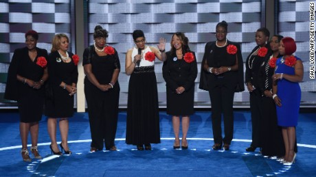Mothers that have lost children to gun violence, part of the Mothers of the Movement group, take the stage during the second day of the Democratic National Convention at the Wells Fargo Center, July 26, 2016 in Philadelphia, Pennsylvania.