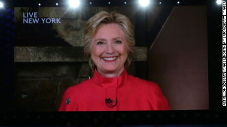 PHILADELPHIA, PA - JULY 26: A screen displays Democratic presidential candidate Hillary Clinton during the evening session on the second day of the Democratic National Convention at the Wells Fargo Center, July 26, 2016 in Philadelphia, Pennsylvania. Democratic presidential candidate Hillary Clinton received the number of votes needed to secure the party's nomination. An estimated 50,000 people are expected in Philadelphia, including hundreds of protesters and members of the media. The four-day Democratic National Convention kicked off July 25. (Photo by Alex Wong/Getty Images)