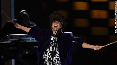 Alicia Keys performs during the second evening session of the Democratic National Convention at the Wells Fargo Center, July 26, 2016 in Philadelphia, Pennsylvania.      / AFP / SAUL LOEB        (Photo credit should read SAUL LOEB/AFP/Getty Images)