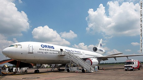 Charity Orbis International's Flying Eye Hospital is operated on a DC-10.
