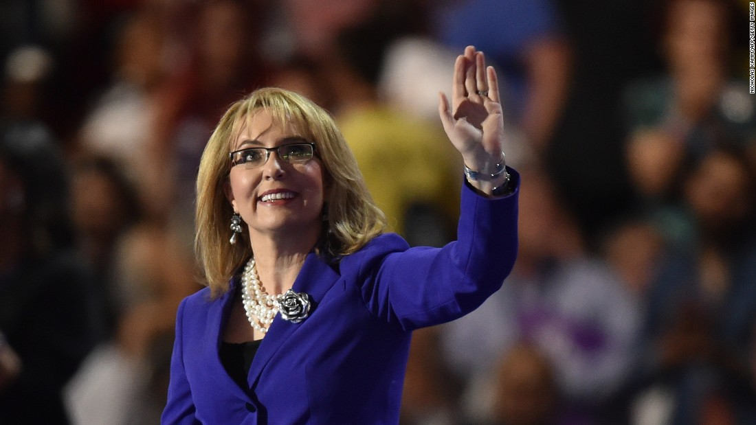 Former U.S. Rep. Gabby Giffords waves to the audience before speaking on Wednesday.