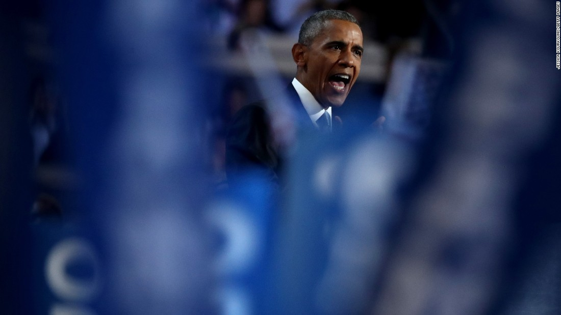 """This year, in this election, I'm asking you to join me -- to reject cynicism, reject fear, to summon what's best in us; to elect Hillary Clinton as the next President of the United States, and show the world we still believe in the promise of this great nation,"" Obama said."