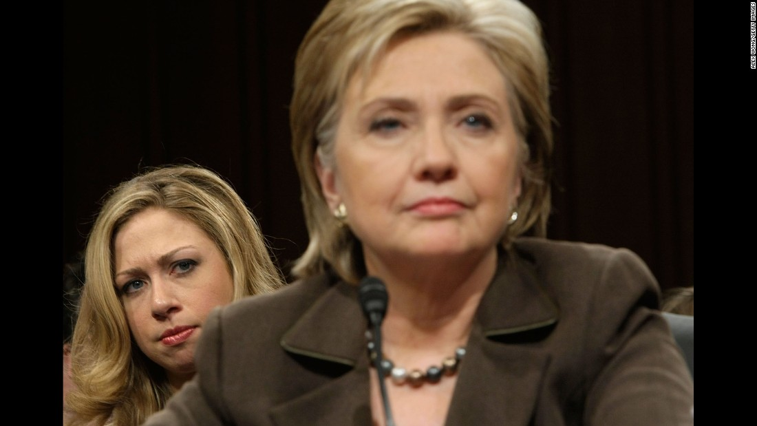 Chelsea watches her mother, nominated for secretary of state, testify during her confirmation hearing in January 2009.