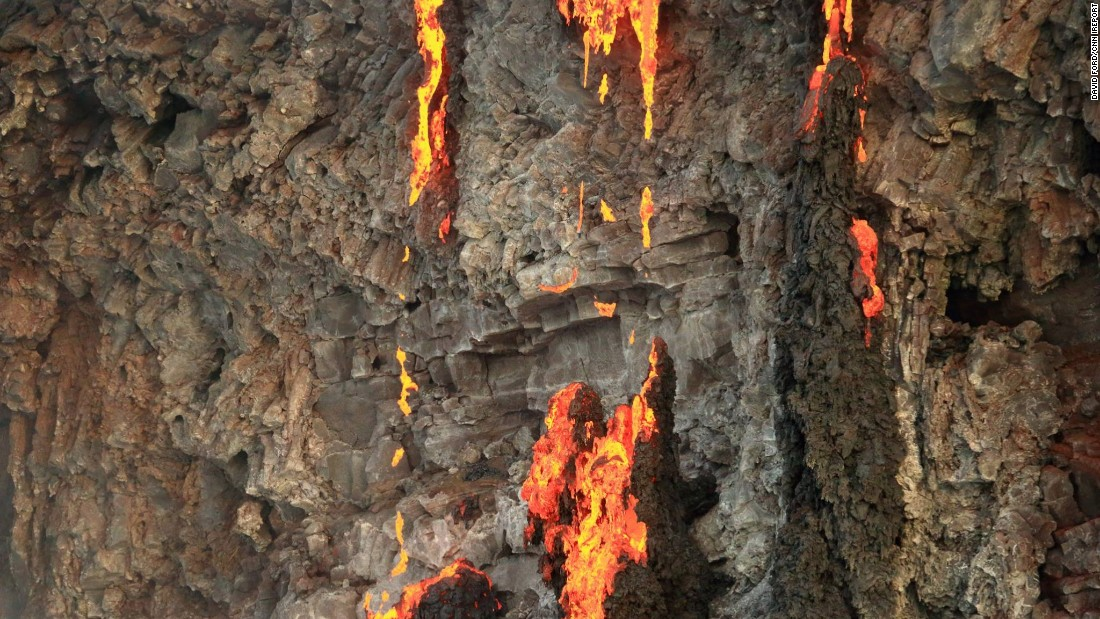 The U.S. Geological Survey says the lava flowed 6.5 miles before reaching the Pacific.