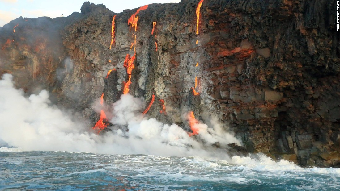 The U.S. Geological Survey says this lava flow poses no immediate threat to nearby communities.