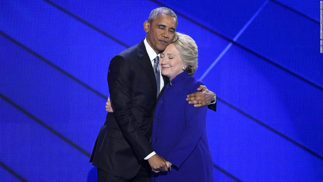 "U.S. President Barack Obama hugs Hillary Clinton after he gave a speech Wednesday, July 27, at the <a href=""http://www.cnn.com/2016/07/25/politics/gallery/democratic-convention/index.html"" target=""_blank"">Democratic National Convention</a> in Philadelphia. Obama said Clinton, the Democratic Party's presidential nominee, is ready to be commander in chief. ""For four years, I had a front-row seat to her intelligence, her judgment and her discipline,"" he said, referring to Clinton's stint as secretary of state."