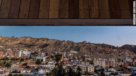 The spectacular views of La Paz from the city's first five-star hotel, Atix Hotel.