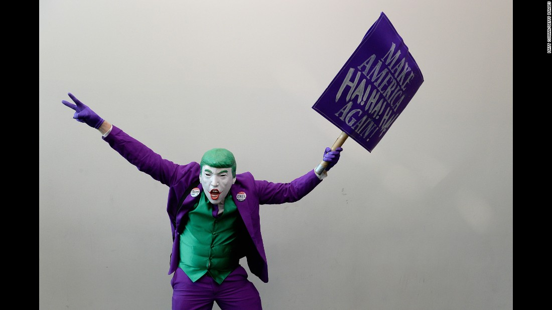 "A ""cosplayer"" combines the Joker character and presidential candidate Donald Trump during San Diego Comic-Con on Saturday, July 23. <a href=""http://www.cnn.com/2016/07/23/entertainment/gallery/comic-con-cosplay-costumes-2016/"" target=""_blank"">See more costumes from Comic-Con</a>"