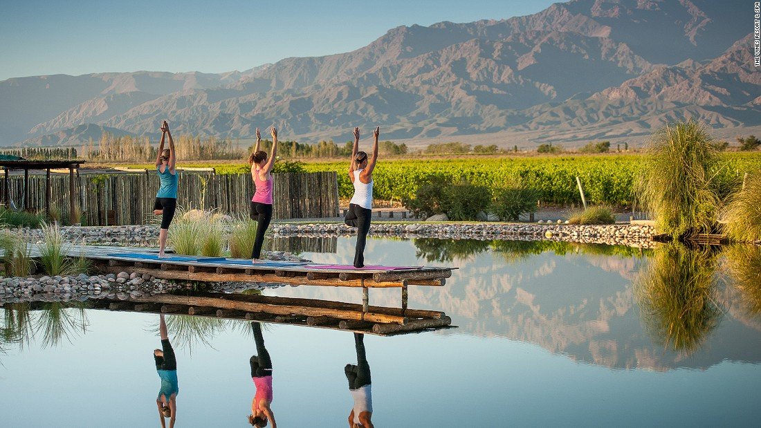 You can start your day with a morning yoga session  looking across vineyards to the rising Andes.