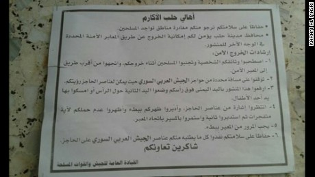 Syrian government leaflets dropped to the residents of besieged Aleppo.