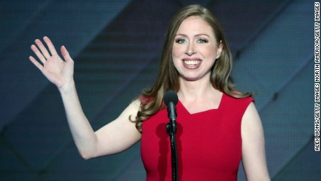 PHILADELPHIA, PA - JULY 28:  Chelsea Clinton arrives on stage to introduces her mother, Democratic presidential nominee Hillary Clinton, on the fourth day of the Democratic National Convention at the Wells Fargo Center, July 28, 2016 in Philadelphia, Pennsylvania. Democratic presidential candidate Hillary Clinton received the number of votes needed to secure the party's nomination. An estimated 50,000 people are expected in Philadelphia, including hundreds of protesters and members of the media. The four-day Democratic National Convention kicked off July 25.  (Photo by Alex Wong/Getty Images)