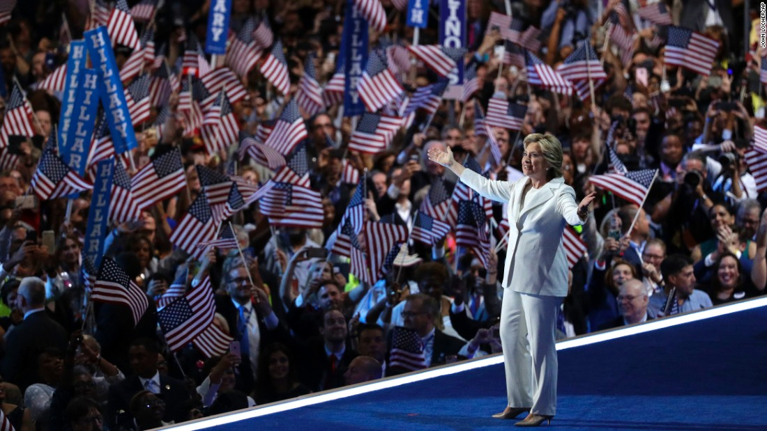 Hillary Clinton, the Democratic Party's presidential nominee, takes the stage before giving a speech Thursday at the Democratic National Convention in Philadelphia.