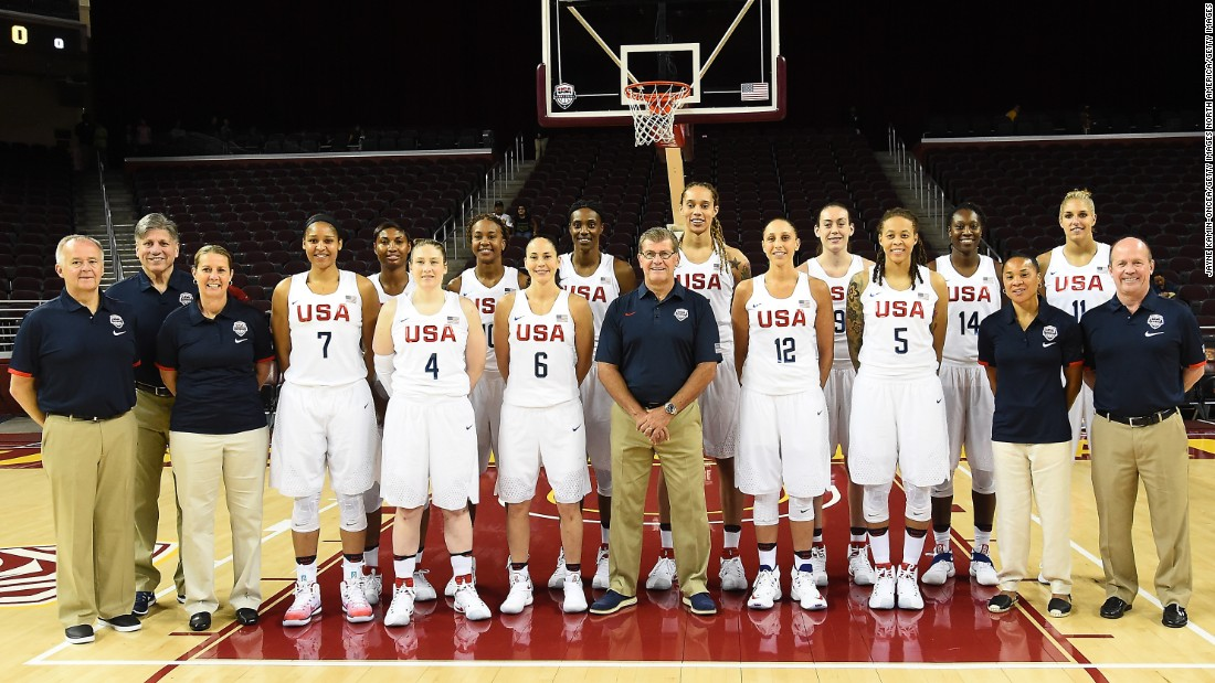 Members of the 2016 USA Basketball Women's National team pose before a pre-Olympic exhibition. The team is riding a 41-game winning streak dating back to 1992, and is 56-1 since the U.S. boycott of the Summer Olympics in 1980.