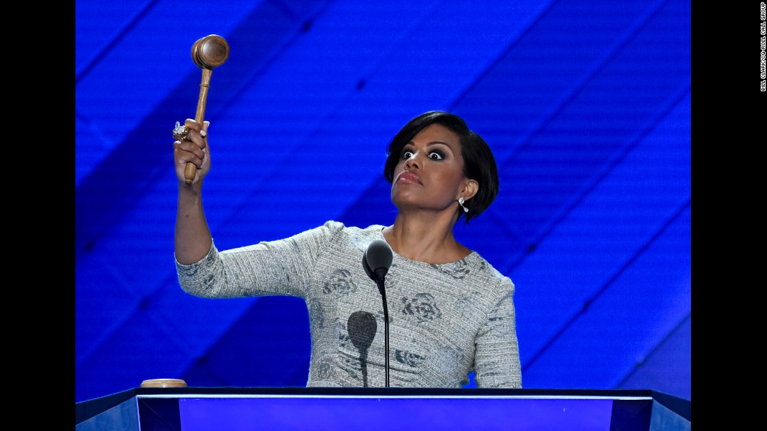 Baltimore Mayor Stephanie Rawlings-Blake uses a gavel to open the Democratic National Convention on Monday, July 25. She had to go back to the podium after initially forgetting to use the gavel.
