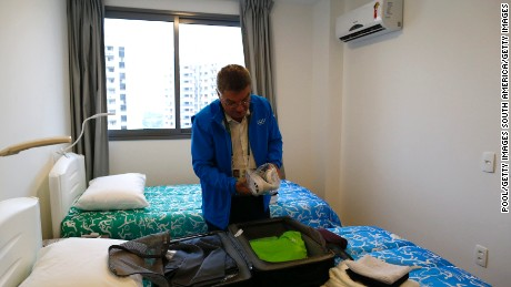 RIO DE JANEIRO, BRAZIL - JULY 28:  International Olympic Committee (IOC) President Thomas Bach unpacks his luggage as he moves into the Olympic village in Rio de Janeiro, Brazil, July 28, 2016.    (Photo by Ivan Alvarado-Pool/Getty Images)
