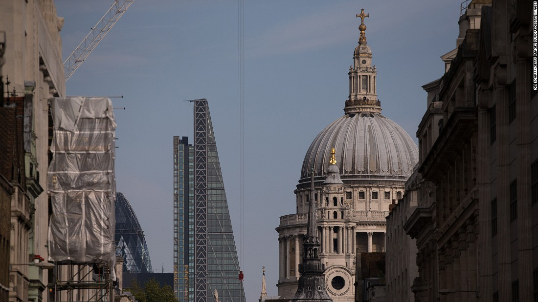 "Today, London's skyline juxtaposes the old and the new. Here the Leadenhall Building -- known as the ""Cheesegrater"" -- leans sideways to avoid blocking St Paul's Cathedral."