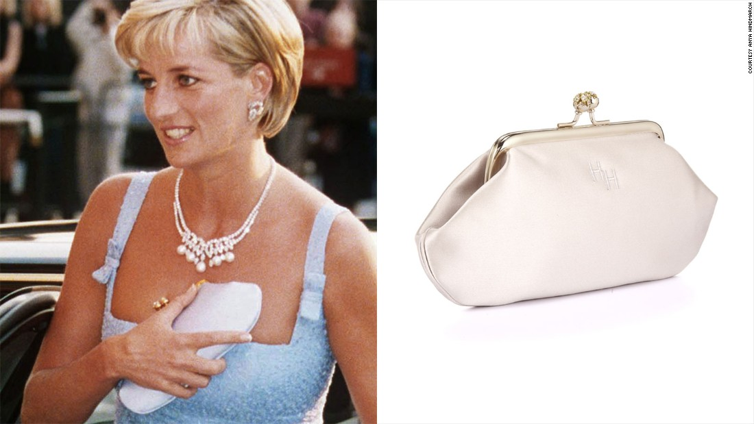 "Diana, Princess of Wales was also a fan, referring to the Anya clutch as her ""cleavage bag"" because she would use it to hide her décolletage when coming out of cars."