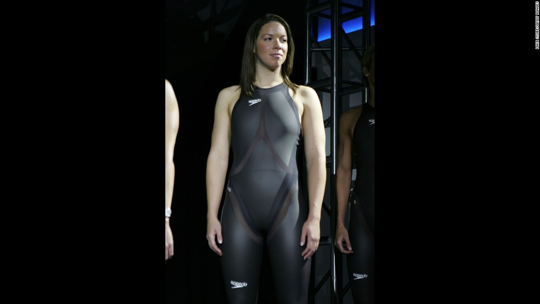 "In 2008, Speedo launched a swimsuit called the LZR Racer, modeled here by gold medalist Katie Ziegler. Soon copied by many other manufacturers, the suits improved performance so much that the full-body version was banned by the International Olympic Committee as ""high-tech doping on a hanger."" But that was after Michael Phelps and others used it to smash dozens of world records and bring home a ton of gold in the 2008 Bejing Olympics."