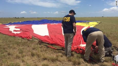 NTSB investigators examine the downed balloon.