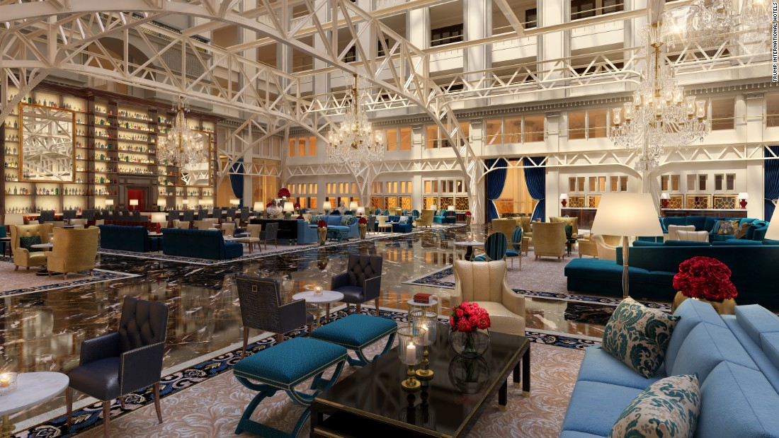 At the hotel's center is a 9-story atrium, seen here in a rendering, called the Cortile.