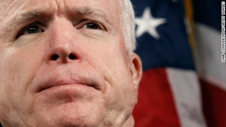 """Sen. John McCain (R-AZ) hold a news conference to announce the introduction of """"The Post-9/11 Troops to Teachers Enhancement Act"""" at the US Capitol on October 27, 2009 in Washington, DC."""
