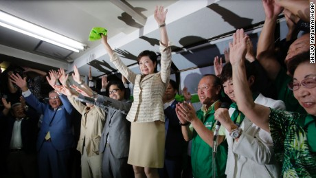 A former Enivornment Minister, Koike encouraged supporters to wear green during her campaign.