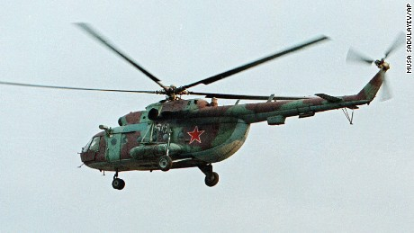 An Mi-8 helicopter, the same model as the downed aircraft, flies over Chechnya in 2012.