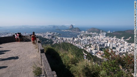 Sugarloaf Mountain, the Atlantic Ocean, Guanabara Bay and Copacabana beach are all visible from Mirante Dona Marta.