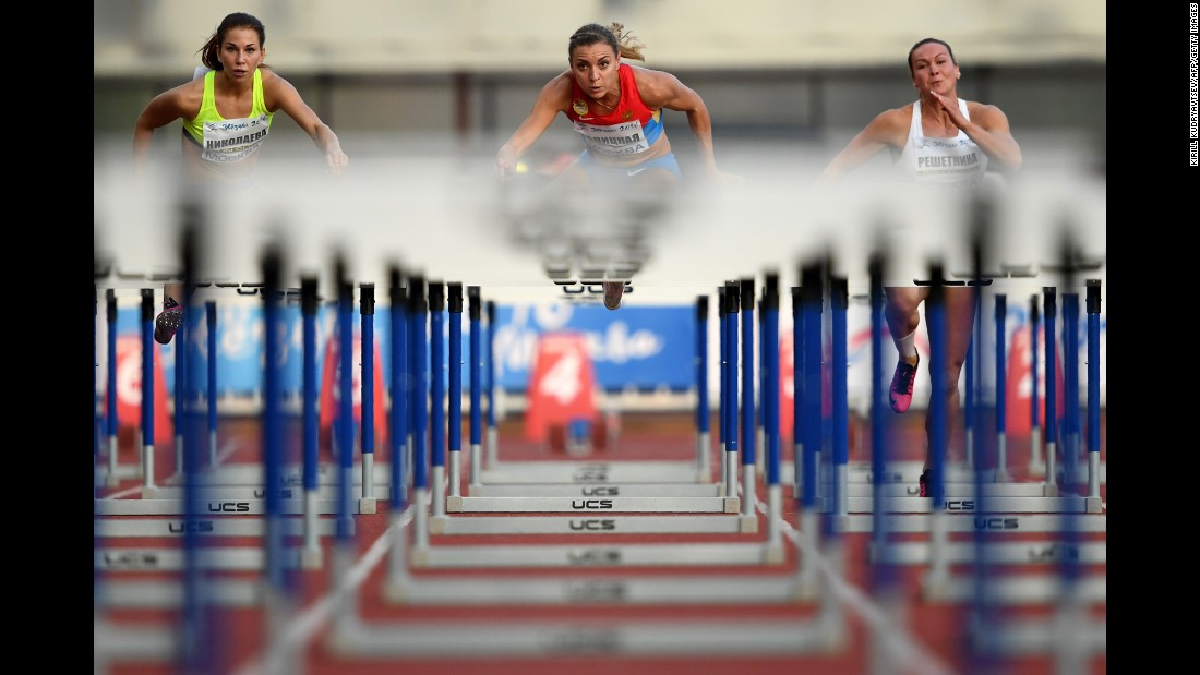 "Russian hurdlers compete Thursday, July 28, at the ""Stars of 2016"" meet in Moscow. Russia <a href=""http://www.cnn.com/2016/07/28/sport/russia-doping-alternate-games-for-expelled-drug-cheats/index.html"" target=""_blank"">organized the competition</a> after nearly all of its track athletes were banned from the Olympic Games in Rio de Janeiro."