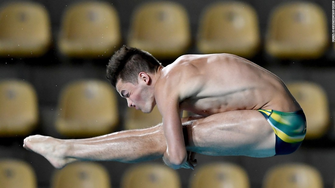 James Connor, an Olympic diver from Australia, practices in Rio de Janeiro on Friday, July 29.