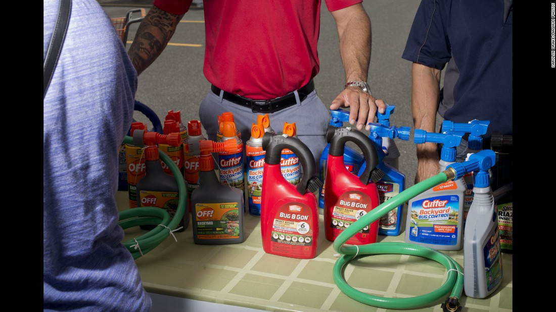 Products are displayed at a Home Depot parking lot during a special Zika Action Day. The health fair included public-health experts and workshops.