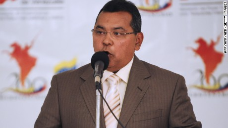 Venezuela's National Anti-Drug Office president Colonel Nestor Reverol speaks during a press conference at the Interior and Justice Ministry in Caracas on May 9, 2011. Reverol referred to the arrival of alleged drug dealer    Walid Makled, extradited from Colombia. AFP PHOTO / Leo Ramirez (Photo credit should read LEO RAMIREZ/AFP/Getty Images)