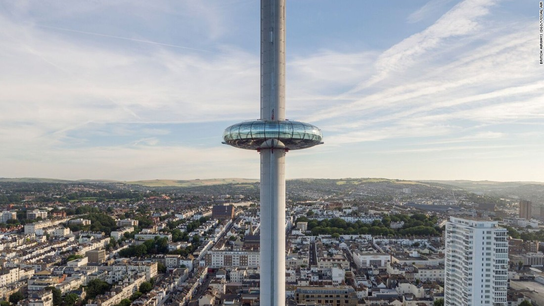 The 162-meter (531-foot) British Airways i360, the tallest moving observation tower, will open in the English seaside town of Brighton on August 4, 2016.