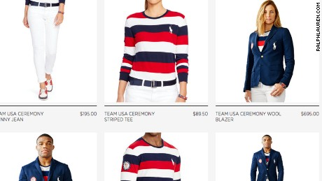 The Ralph Lauren website features the new Team USA Olympic outfits.