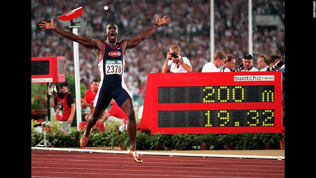 <strong>Gold shoes, gold medal:</strong> Michael Johnson and his flashy spikes set a new world record in the 200 meters, finishing in 19.32 seconds in 1996. The American also added gold in the 400 meters that year.