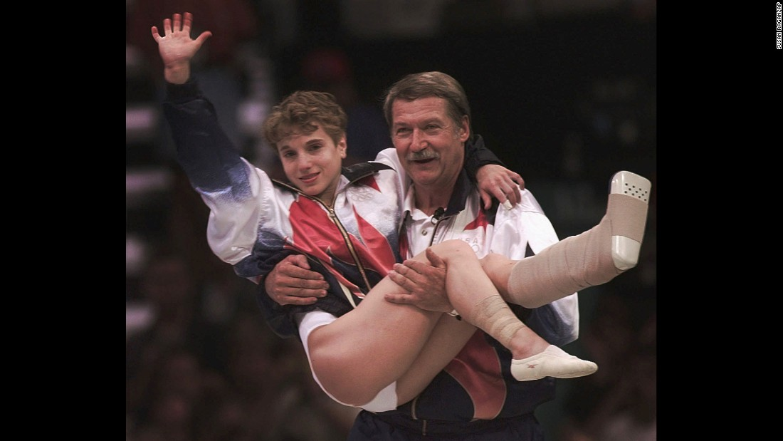 <strong>Strug digs deep: </strong>U.S. gymnast Kerri Strug injured her ankle on her second-to-last vault during the team competition at the 1996 Summer Games in Atlanta. But with a gold medal in the balance, she still had to go once more and land on her feet. She did just that, clinching victory and making her an American hero.