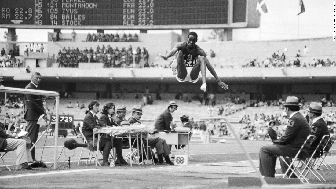 <strong>Beamon's phenomenal jump: </strong>American long jumper Bob Beamon obliterated the world record by more than 21 inches in 1968, leaping an astonishing 9 feet, 2 1/2 inches (8.90 meters). Beamon was so stunned by the distance that he collapsed to the ground in what doctors later diagnosed as a cataplectic seizure brought on by nervous excitement. The record stood until 1991.