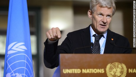 Special Advisor to the UN Syria envoy Jan Egeland attends a press briefing following a meeting of the International Syria Support Group's Humanitarian Access Task Force on May 12, 2016 at the UN Office in Geneva. / AFP / FABRICE COFFRINI        (Photo credit should read FABRICE COFFRINI/AFP/Getty Images)