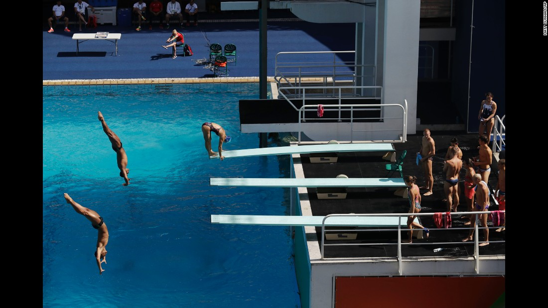 Divers work out in Rio on August 2.