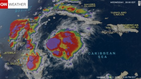 A satellite look at Tropical Storm Earl on Tuesday, August 2 at 8 p.m. ET