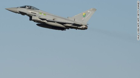 A Royal Air Force Typhoon -- the same type of fighter jet that carried out the strikes on the ISIS complex.