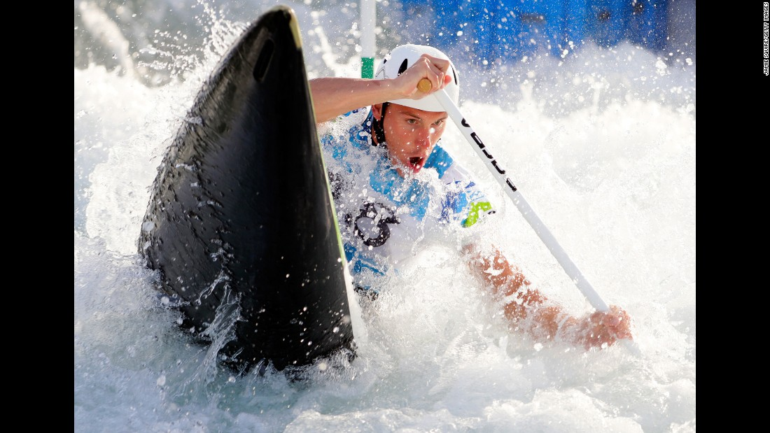 A canoeist trains in Rio on August 2.