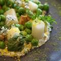 LA chefs table trois mec Pea and asparagus dish Krissy Lefebvre
