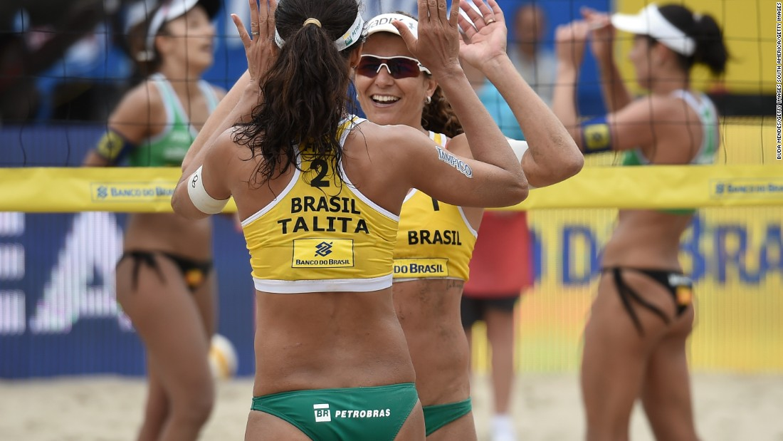 All four athletes in this photo could be Olympic medalists by the time August finishes. Larissa Franca and Talita Antunes, at the front, are marginally ahead of compatriots Barbara Seixas de Freitas and Agatha Bednarczuk in the Olympic rankings.<br />