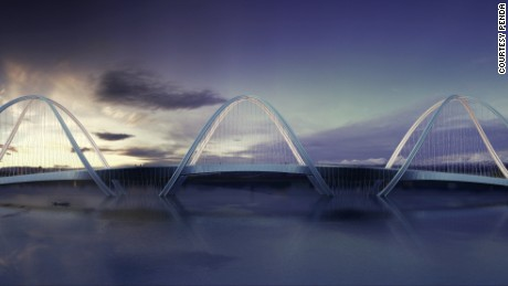 The bridge plays with perspective, taking different forms depending on where it's viewed from