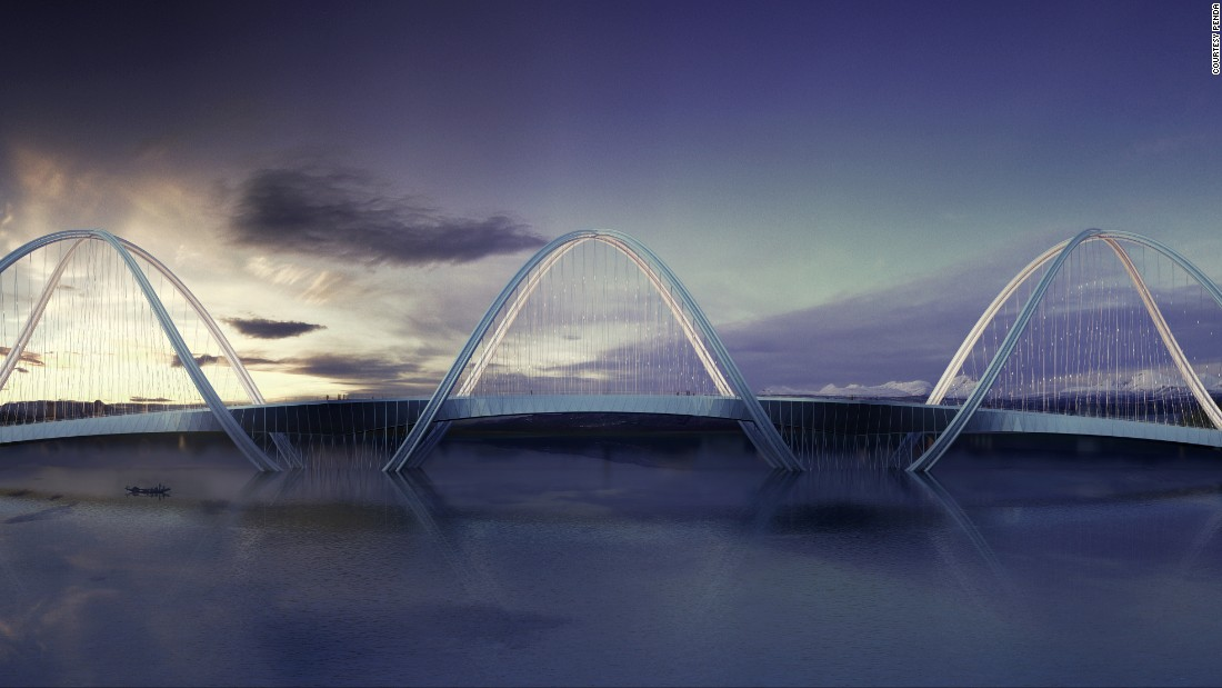 This curvaceous structure -- a concept bridge by architectural firm Penda -- was designed to connect Beijing's north to the 2022 Winter Olympic games venues in the neighboring Zhangjiakou district.