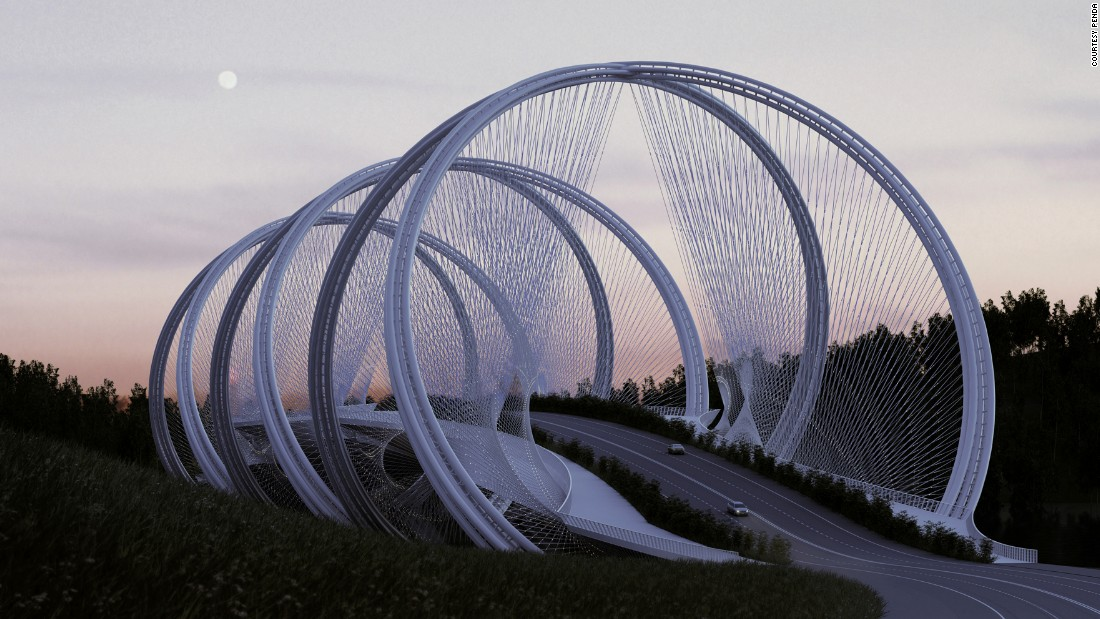 A collaborative project between Penda and engineering firm Arup, the bridge features multiple arches and was partly inspired by the famous five-ringed symbol of the Olympic Games.
