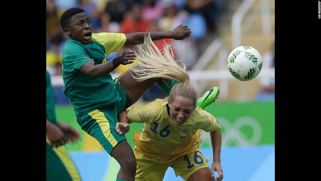 South Africa's Nothando Vilakazi, left, and Sweden's Elin Rubensson compete for the ball during a match on August 3.