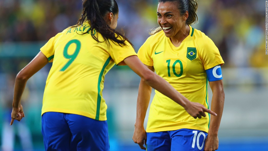 Brazil eventually ran out comfortable 3-0 winners, thanks in part to the performance of Marta. She promises to be one of the stars of the Games for the hosts, having been named FIFA World Player of the Year on five occasions.
